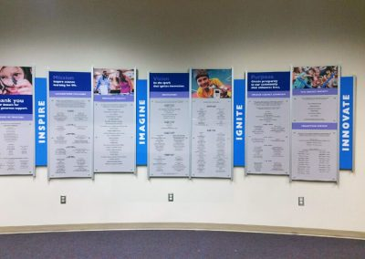 Orlando Florida Science Center donor recognition custom designed by Presentations using Rail Wall System