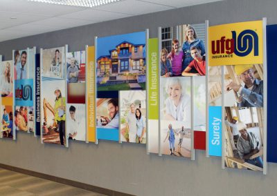Corporate Visual Branding Wall Display in Rail Wall System